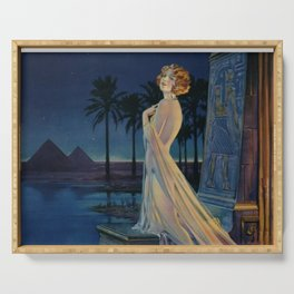 Melody of Ancient Egypt Art Deco romantic female figure by the River Nile painting by Henry Clive Serving Tray