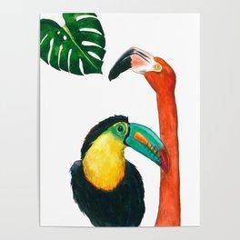 Tropical birds in watercolor Poster