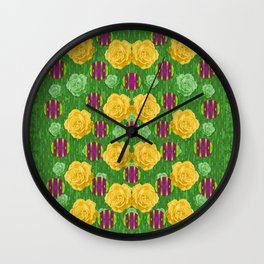 roses dancing on a tulip field of festive colors Wall Clock