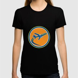 Commercial Jet Plane Airline Flying Retro T-shirt