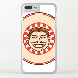 Grinning Funny Face Mascot Circle Retro Clear iPhone Case