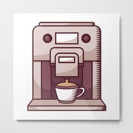 Coffee Maker With Coffee Cup Metal Print