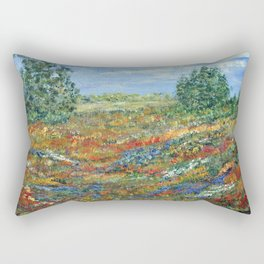 Summer In The Meadows, Impressionism floral landscape Rectangular Pillow