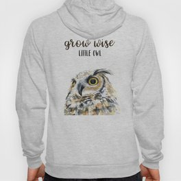 Grow Wise Little Owl Nursery Animals Art Great Horned Owl Hoody