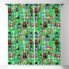 Spooky Dolls on Green Blackout Curtain