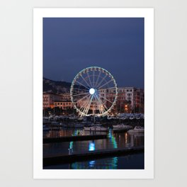 Italy : Ferris wheel for the Luci d'Artista 2018, Christmas lights show in Salerno, December, 2018 Art Print