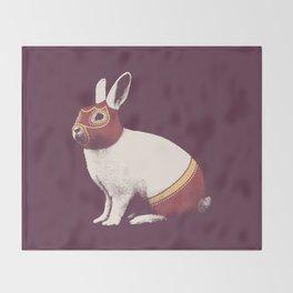 Lapin Catcheur (Rabbit Wrestler) Throw Blanket