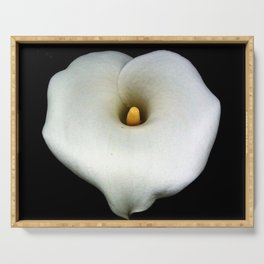 A Single Heart Shaped Calla Lily Isolated On Black Serving Tray
