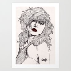 Debbie with Red Lips Art Print