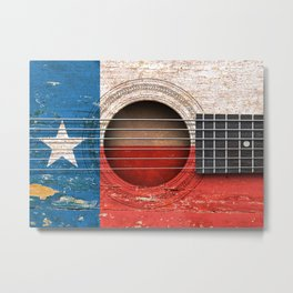 Old Vintage Acoustic Guitar with Texas Flag Metal Print