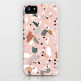 pale pink terrazzo with neutral flecks iPhone Case
