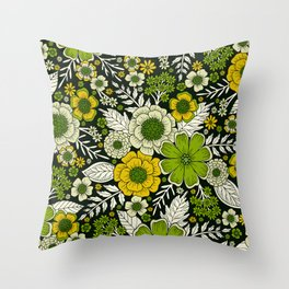 Modern Yellow & Green Floral Pattern Throw Pillow