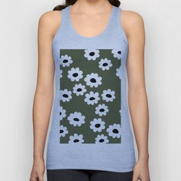 Little retro wild flower daffodil daisy white forest green Unisex Tank Top