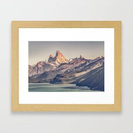 Fitz Roy and Poincenot Andes Mountains - Patagonia - Argentina Framed Art Print