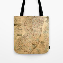 Map Of New Jersey 1860 Tote Bag