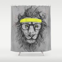 hipster Shower Curtains featuring hipster lion by Balazs Solti
