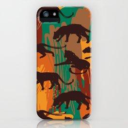 Safari orange green watercolor brushstrokes animal wild jaguar pattern iPhone Case