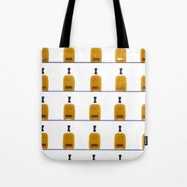 Glass Bourbon Bottles on Shelves Color Photograph Tote Bag