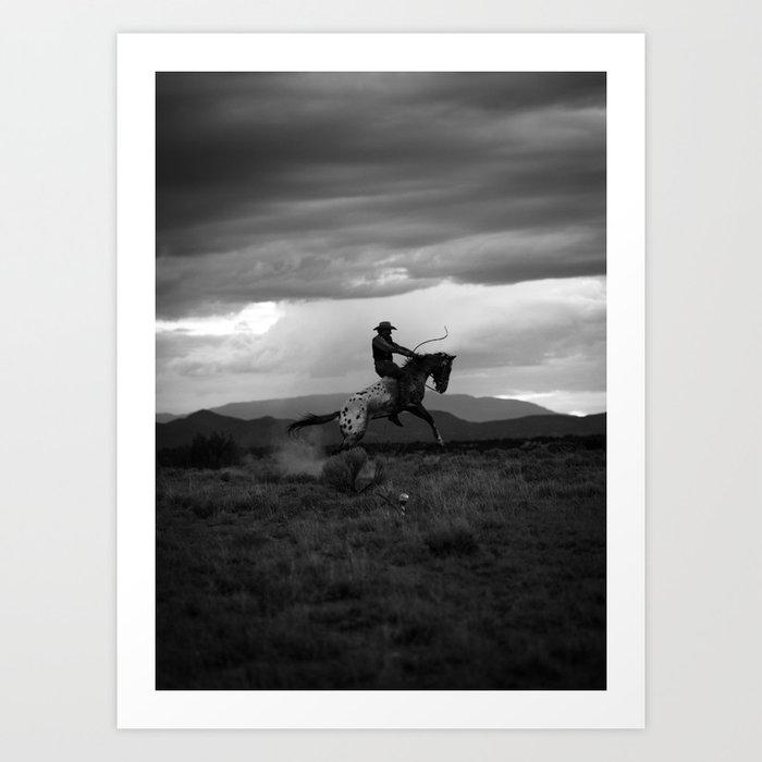 Black and White Cowboy Being Bucked Off Kunstdrucke