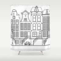 amsterdam Shower Curtains featuring AMSTERDAM by Anna Lindner