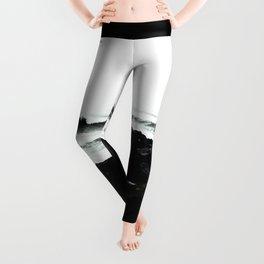 Modern black and white ocean  rocks artistic Leggings