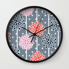 Blossom pattern with dots Wall Clock