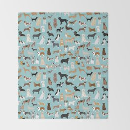 Dogs pattern print must have gifts for dog person mint dog breeds Throw Blanket