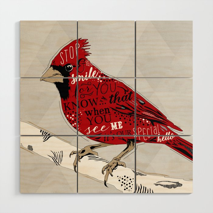 Cardinal Bird Lost Loved One Visiting Wood Wall Art