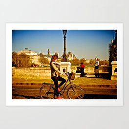 The Girl, the Old Man, and the Bicycle  Art Print