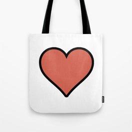 Bold Living Coral Heart Shape Digital Illustration, Minimal Art Tote Bag