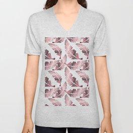 Modern mauve pink tropical summer leaves pattern Unisex V-Neck