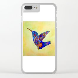 humming bird in color with green-yellow back ground Clear iPhone Case