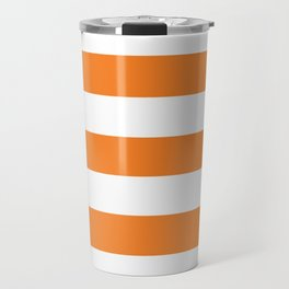 Princeton orange - solid color - white stripes pattern Travel Mug