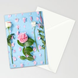 Flower Flatlay on Blue Stationery Cards