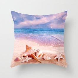 On the beach Throw Pillow