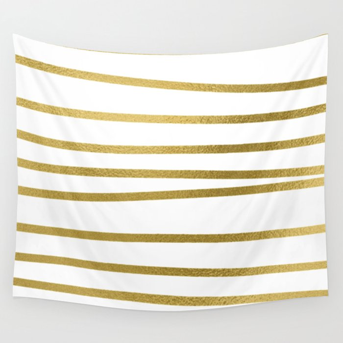 Small simply uneven luxury gold glitter stripes on clear white - horizontal pattern Wall Tapestry