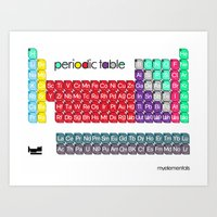 periodic table Art Prints featuring myelementals / PERIODIC TABLE by myelementals