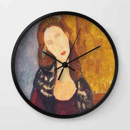 Jeanne Hebuterne woman portrait by Amedeo Modigliani Wall Clock