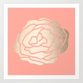 Rose White Gold Sands on Salmon Pink Art Print