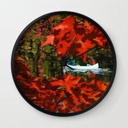 Autumn canoeing Wall Clock