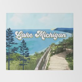 Lake Michigan Retro Throw Blanket