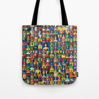 justice league Tote Bags featuring Action Figure Grid: Justice League Unlimited by CantinaDanny