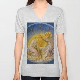 """Fra Angelico (Guido di Pietro) """"The Coronation of the Virgin (tondo)"""" c.1395 Unisex V-Neck"""