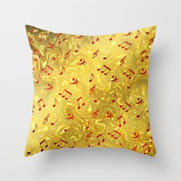 red music notes in golden festive paper background Throw Pillow