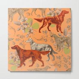 Irish Red Setter Dogs Pattern Metal Print