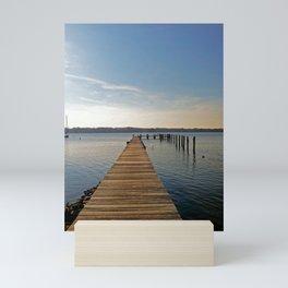 Pier on the river - minimalist landscape photography | Severn River, MD Mini Art Print