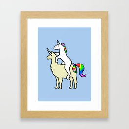 Unicorn Riding Llamacorn Framed Art Print