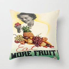 Vintage poster - Eat more fruit Throw Pillow