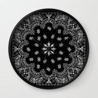 2pac Wall Clocks featuring black and white bandana by Marta Olga Klara