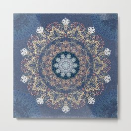 Blue's Golden Mandala Metal Print